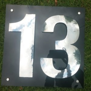 aluminium, house number, planished, polished, postman's best friend